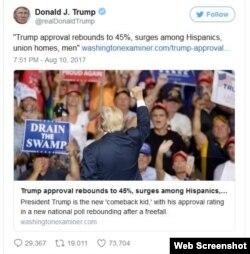 Hispanos impulsan popularidad de Donald Trump en agosto.