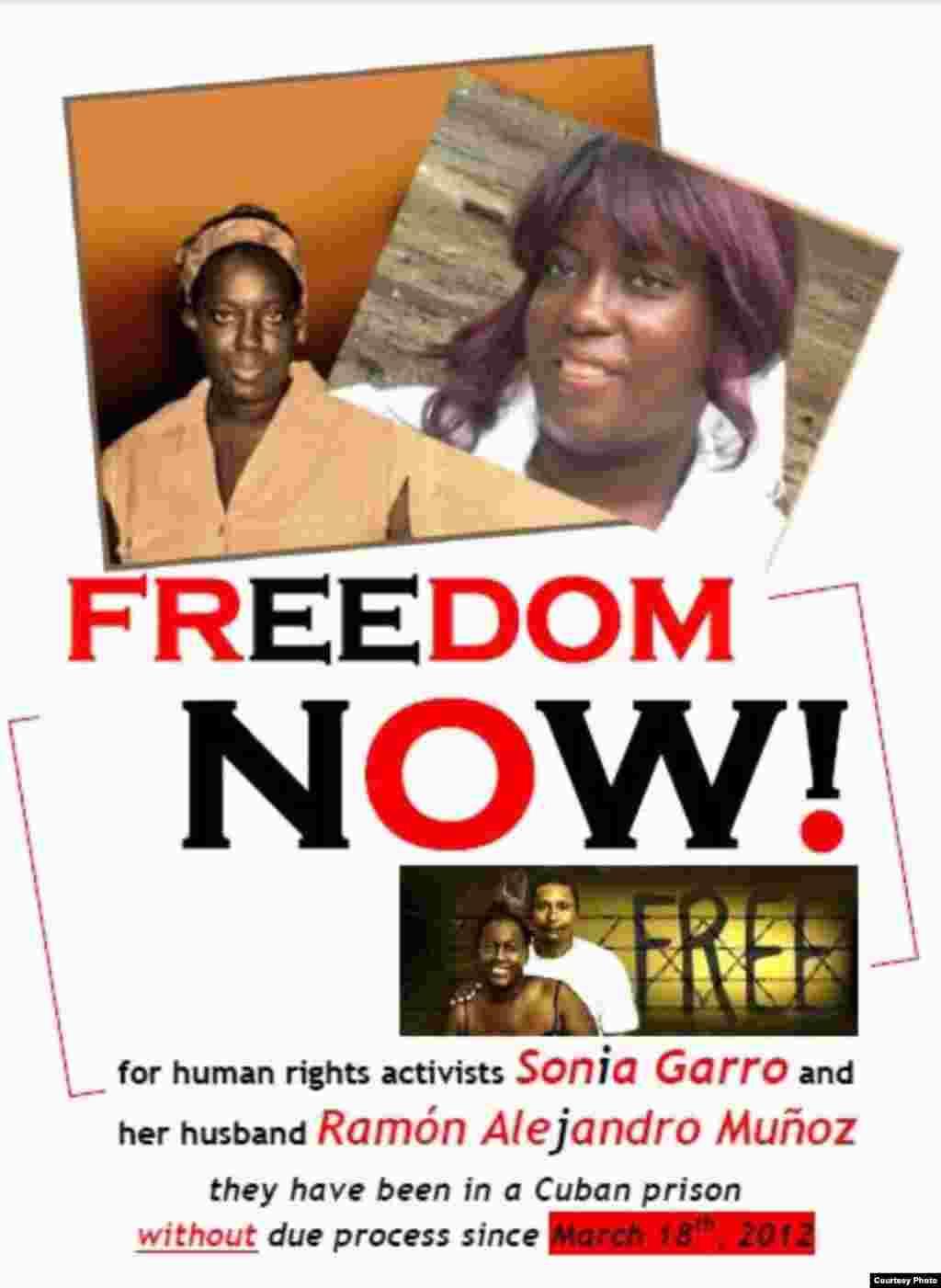 Pormoci'on de la Causa por la libertad de Sonia Garro, su esposo Alejandor Muñoz y el activista opositor Eugenio Hernández