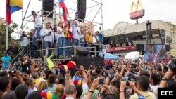 Concentración opositora en la plaza Brion del sector Chacaito de Caracas, para pedir la libertad de Leopoldo López y otros presos políticos.