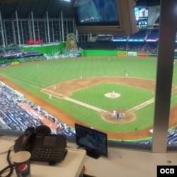 El estadio desde la cabina de prensa