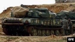 Fotografía de archivo de tanques sirios.