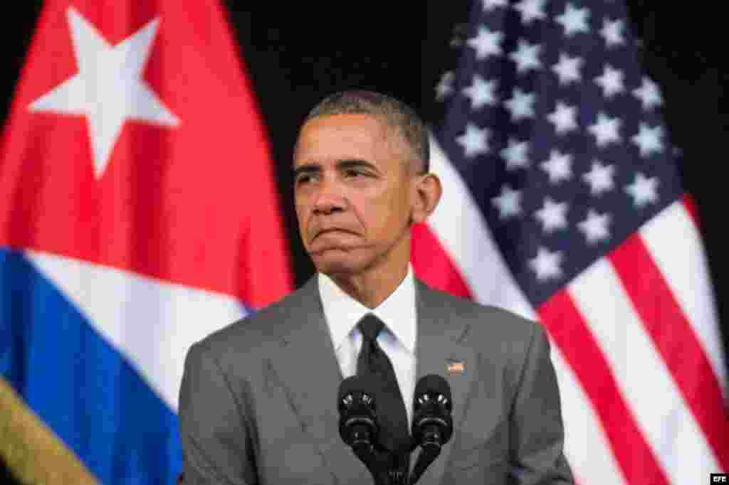 El presidente de EEUU, Barack Obama, pronuncia un discurso en el Gran Teatro Alicia Alonso de La Habana, Cuba, el 22 de marzo del 2016.