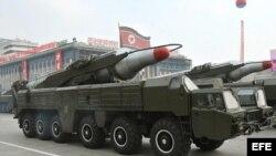 Misil Musudan durante un desfile militar en Corea del Norte.
