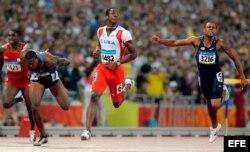 Dayron Robles tras ganar el oro olímpico en Pekín 2008.