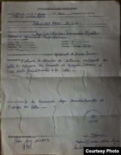 Acta del funcionario del Ministerio de Justicia, Pedro Cruz Álvarez.