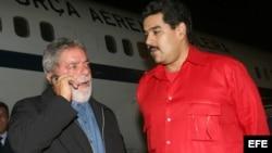 Luiz Inacio Lula Da Silva (i) junto a Nicolás Maduro (d).Foto de ARCHIVO.
