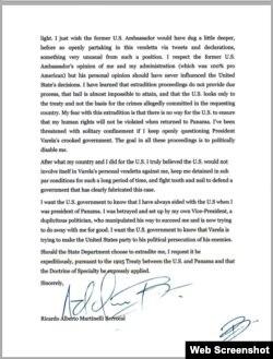 Copia de la carta firmada por Ricardo Martinelli