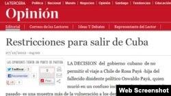 """Editorial: """"una muestra más de la vulneración a los derechos que comete el régimen dictatorial de la isla"""""""