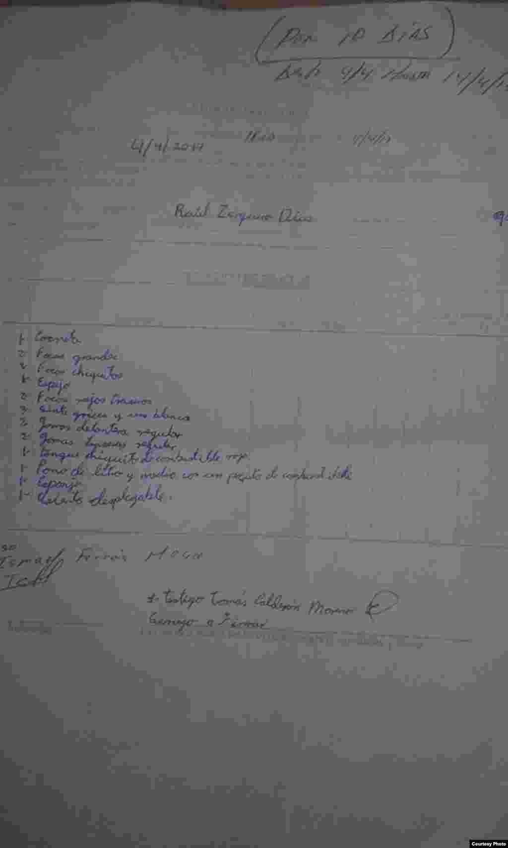 Acta de retención del auto King Midget de 1923, propiedad de la familia Zerquera Díaz.
