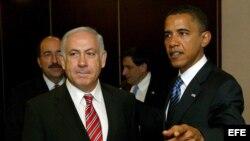 Presidente de Estados Unidos, Barack Obama, junto al lider israelí Benjamin Netanyahu