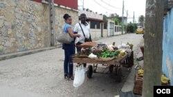 Iyabo con su carretilla en La Habana.