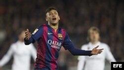 """El delantero del Barcelona Neymar durante el """"clásico"""" del 22 de marzo 2015."""