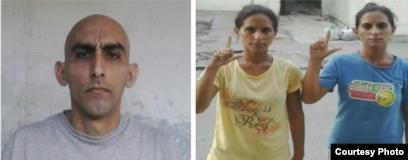 Los tres hermanos, Fidel Batista Leyva y Anairis y Adairis Miranda Leyva. en Holguin
