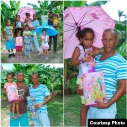Entrega de juguetes a niños en Baracoa como parte de las ayudas del Proyecto Juan Pablo II