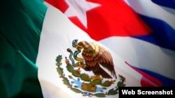 Cuba Mexico banderas