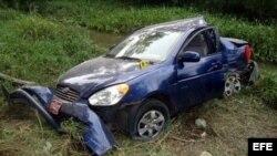 Auto conducido por Ángel Carromero accidentado en Cuba.