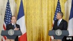 El presidente de Francia Francois Hollande y el presidente de EE.UU Barack Obama.