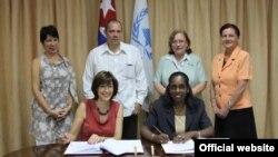Firma del acuerdo entre el PMA de la ONU y el Gobierno de Cuba.