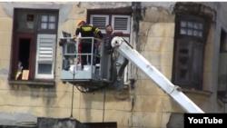 Derrumbe en edificio de Centro Habana. (Captura de video/Serafín Morán)