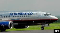 Un avión de la línea aérea mexicana Aeromexico