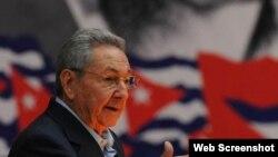 Raúl Castro habla en el VII Congreso del PCC.