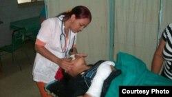 Lesionados durante el accidente reciben atención en el Hospital Celia Sánchez.