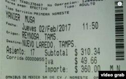 Billete Reynosa-Nuevo Laredo comprado por uno de los cubanos desaparecidos.
