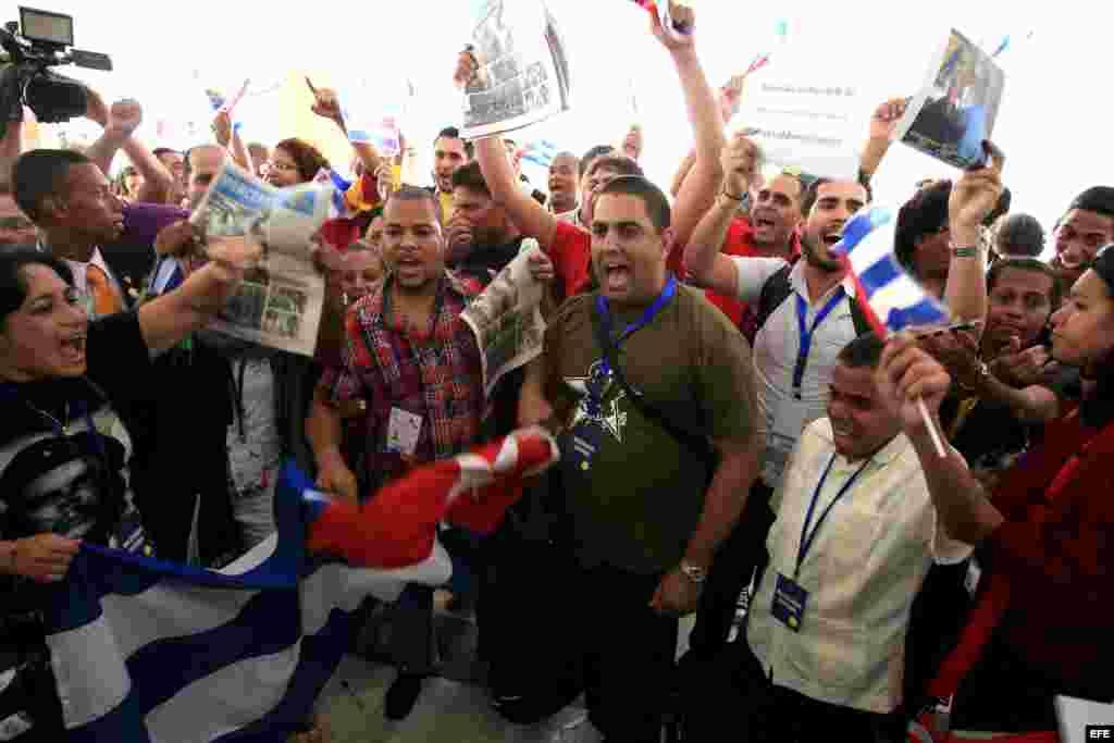 Parte de las protestas del miércoles contra activistas cubanos en la Cumbre de Panamá.