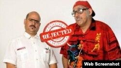 Los humoristas cubanos Andy Vázquez (Facundo Correcto) y Mario Sardiñas (Chequera).