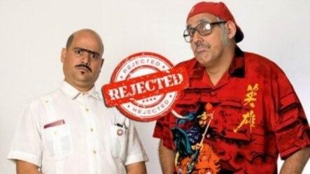 Los humoristas cubanos Andy Vázquez (Facundo Correcto) y Mario Sardiñas (Chequera)