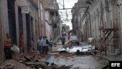 Una calle de Santiago tras el paso de Sandy