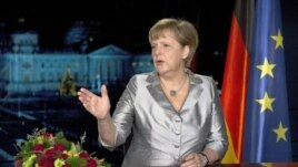 La canciller alemana Angela Merkel en su mensaje de fin de año.