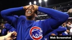 Aroldis Chapman, después que los Chicago Cubs ganaron la Serie Mundial en 2016.
