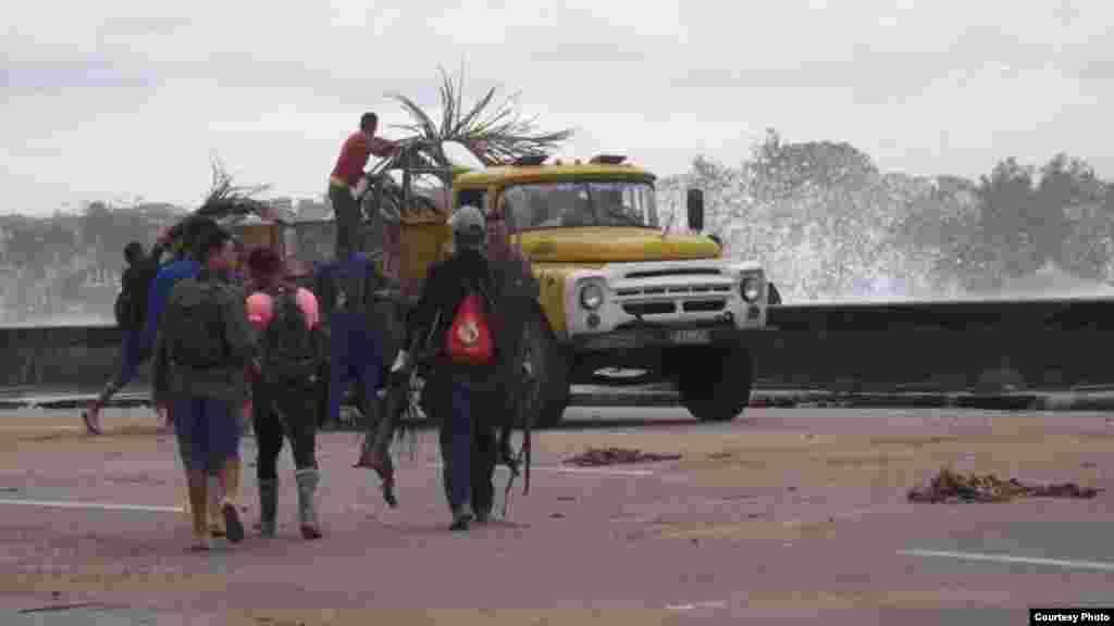 Recogida de basuras, que causan tupición en los desagües. (Foto de Manuel Guerra/ Cubanet)