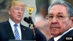 El presidente de Estados Unidos, Donald Trump y el dictador cubano Raúl Castro. Composición.