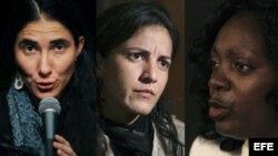 Las activistas Yoani Sánchez, Rosa María Payá y Berta Soler.