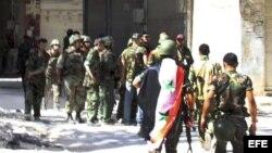 Fotografía de archivo de soldados sirios.