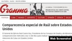 Detelle prensa cubana, diario oficial Granma.