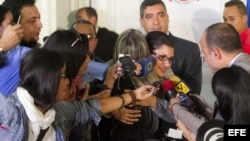 Rueda de prensa de la liberada periodista Nairobi Pinto en Caracas