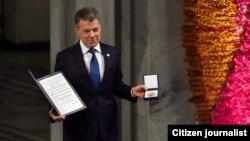 Juan Manuel Santos, recibe en Oslo el Nobel de la Paz Foto tomada de Twitter del presidente Santos