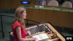La embajadora estadounidense ante la ONU, Samantha Power, dirigiéndose al pleno de la Asamblea General.