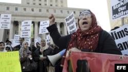 Musulmanes protestan en New York