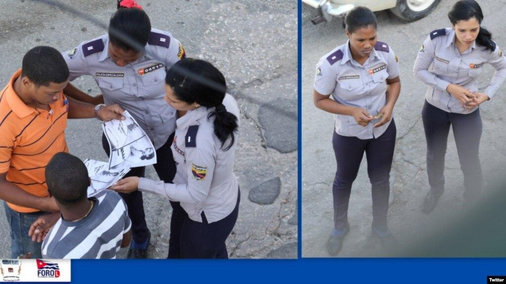 El activista Angel Moya captó estas imágenes de los represores que detuvieron a Yamilé Garro Alfonso frente a la sede de las Damas de Blanco en Lawton.