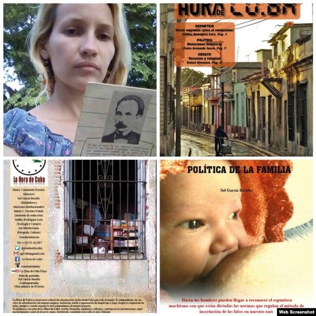 Sol García Basulto y tres páginas del último número de La Hora de Cuba publicado en Facebook.