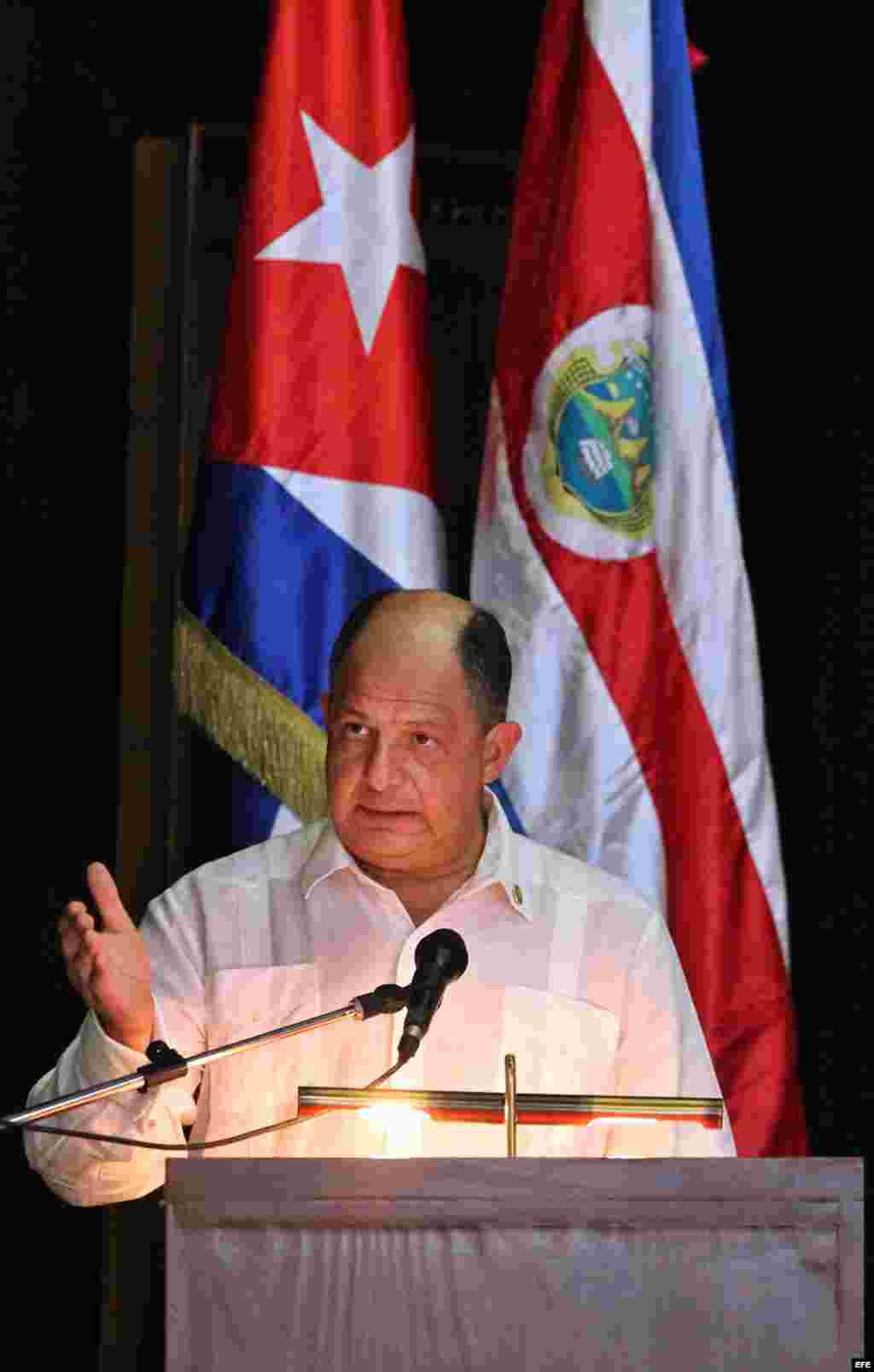 El presidente de Costa Rica, Luis Guillermo Solís ofrece un discurso en La Habana, Cuba.