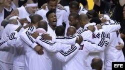 Celebración por triunfo del Miami Heat