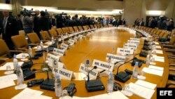 Vista de la sala de reunión del FMI. Archivo.