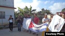 Sara Marta Fonseca durante una protesta pública en La Habana