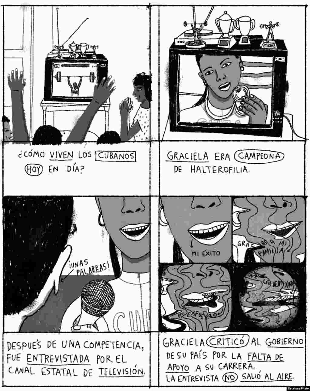 """""""Graciela"""", (II) historieta de la serie """"Unas vidas cubanas"""", del ilustrador mexicano Joan X. Vázquez. Cortesía Amnistía Internacional."""