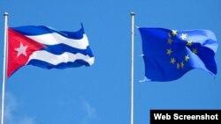 Banderas de Cuba y la UE.